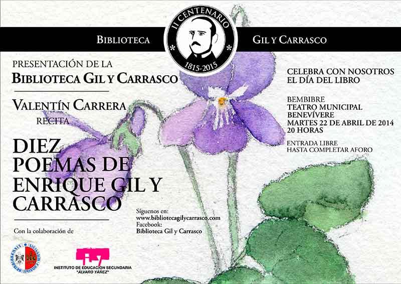 Valentín Carrera recita 10 poemas de Enrique Gil y Carrasco en el Benevivere