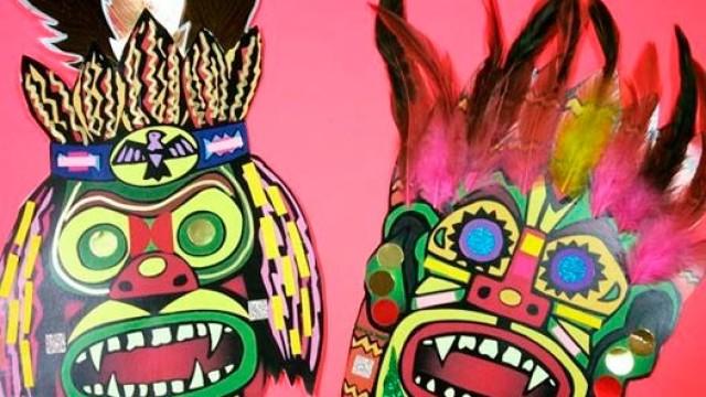 Taller de máscaras en el Marca sobre la cultura Maya