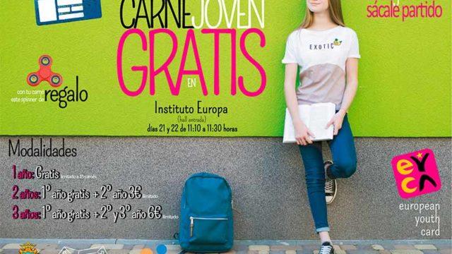 Campaña de promoción del Carné Joven Europeo con un año de vigencia gratuita