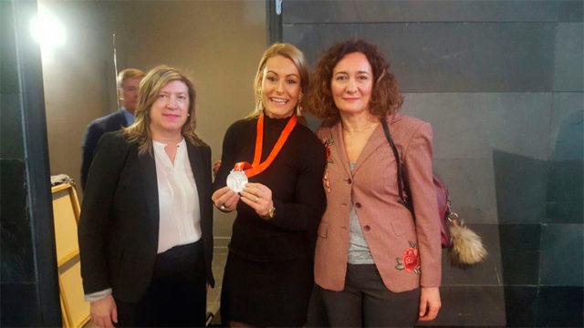 Lidia Valentín recibe la medalla de Plata de los Juegos Olímpicos de Pekín