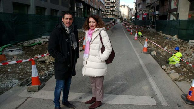 La primera fase de las obras en la calle Camino de Santiago finalizará en Semana Santa