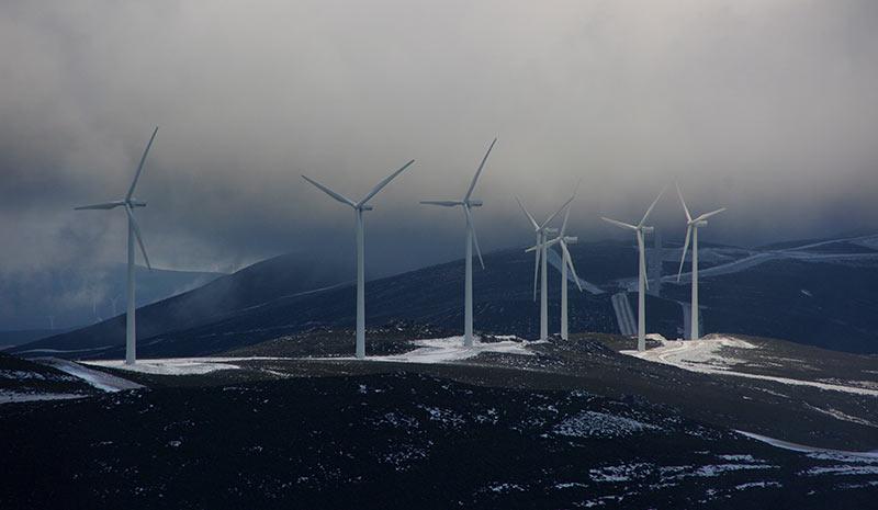 Parque eólico en el Morredero