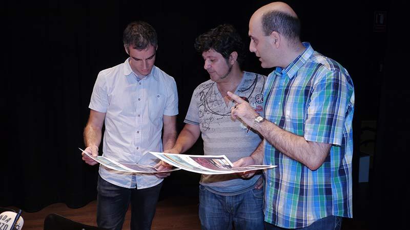 Presentación del ciclo La Bicicleta en el Cine. Sergio Gallardo, Presidente de la Fundación de Deportes, Antonio Donís, Director del Festival Internacional de Cine de Ponferrada, y Antonio Morán, Director de Programación del Festival Internacional de Cine de Ponferrada.