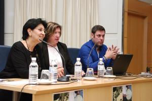 Mar Palacio, María Antonia Gancedo e Iván Alonso en la inauguración de las II Jornadas de Historia Local y Patrimonio. Foto: Raúl C.