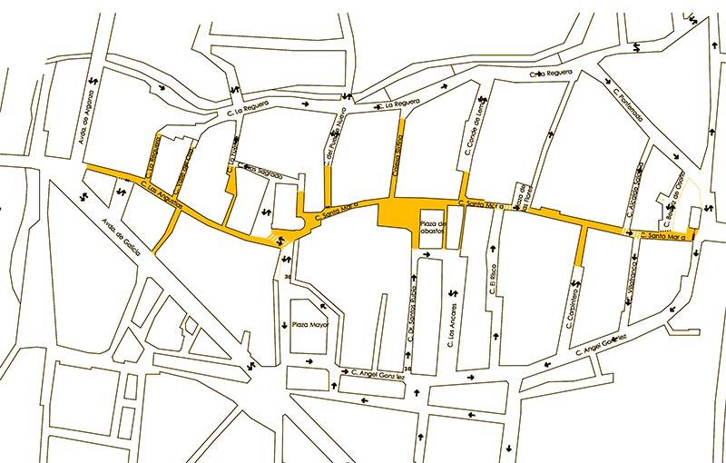 Calles de Cacabelos afectadas por la peatonalización.